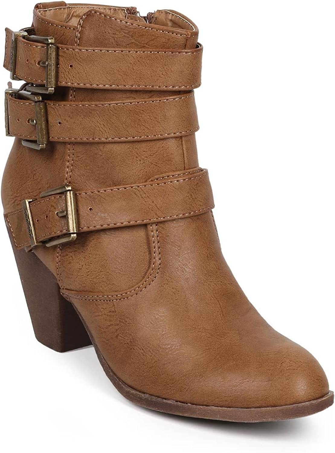 DBDK DK87 Women Leatherette Almond Toe Strappy Zip Riding Bootie - Taupe