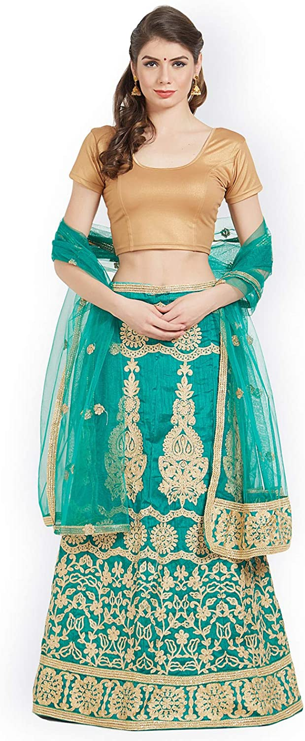 Generic WOMN Women Green Set of SemiStitched Lehenga & Blouse with Dupatta