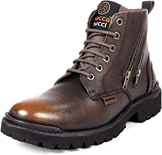 Bacca Bucci® York Men's Military Genuine Leather Motorcycle Combat Boots for Men