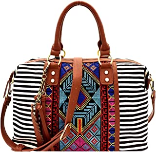 Aztec Tribal Embroidery Stripe Print Leaf Charm Canvas Boston 2 Way Boho Satchel Bag
