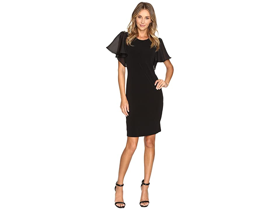 Calvin Klein Short Sleeve Flutter Dress (Black) Women