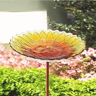 MUMTOP Glass Bird Bath,Garden Outdoor Birdbaths Birdfeeder with Metal Stake Sunflower