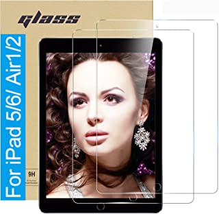 (2 Pack ) Amuoc Tempered Glass Film for Apple iPad Pro 9.7 (2018 & 2017 Model, 6th/5th Generation) / iPad Air 2 / iPad Air Screen Protector, HD Anti Scratch, Bubble Free(Please confirm your Ipad model to avoid errors)