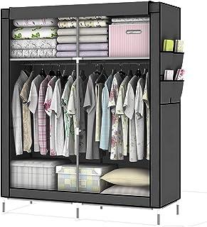 Intirilife Armario Tela Plegable 108x170x45 cm in Gris Ceniza – Guardar Ropa Organizador de Textil Tela Portátil con Crema...