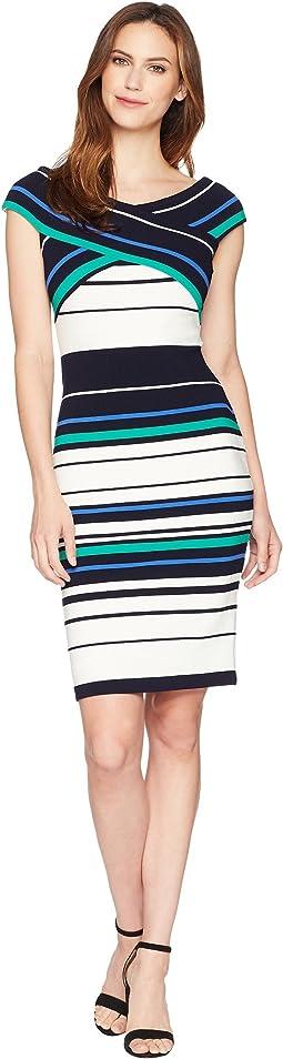 Adrianna Papell Refined Sporting Stripe Sheath Dress