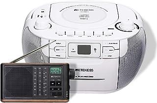 Retekess TR621 CD Cassette Player, Portable Boombox AM FM Radio, and TR613 AM FM Shortwave Radio Portable, Transistor Retr...