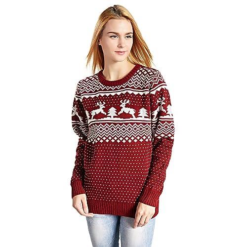 Christmas Sweater Womens.Women S Cute Christmas Sweater Amazon Com