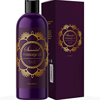 Sensual Massage Oil for Couples - No Stain Lavender Massage Oil for Massage Therapy and Relaxing Massage Oil with Sweet Al...