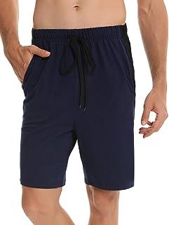 Irevial Bas de Pyjama Coton Shorts Homme Pntalon de Pyjama Été Court avec Poche Cordon de Serrage Motif Rayures