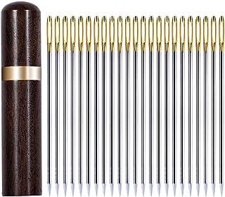 SOMOTT 刺しゅう針 刺繍用針 手縫い針 縫い針 裁縫針 革 針 革用縫い針 レザークラフト 手縫い針 レザー 針 手芸 針穴の大きい針セット 厚地縫い レザークラフト 工具 道具セット 針用容器付き