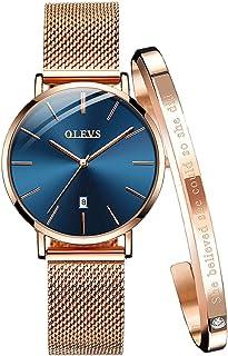OLEVS Ladies Watch 6.5mm Ultra Thin Mesh Strap Waterproof Japanese Quartz Fashion Dress Date Women Wrist Watch