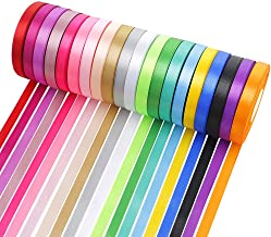 Satin Ribbon for Crafts Gift Wrapping 2/5 Inch Wide 20 Colors 600 Yards Making Sewing Party Wedding Decoration