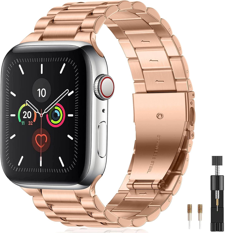Netolo Correas de Metal Compatible con Correa Apple Watch 40mm 38mm 41mm, Correa de Acero Inoxidable Compatible con Correa Apple Watch SE/Correa iWatch Series 7 6 5 4 3 2 1, 38mm/40mm/41mm Oro Rosa