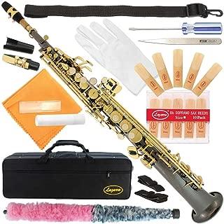 300-BN-BLACK NICKEL/GOLD Keys Bb STRAIGHT SOPRANO Saxophone Sax Lazarro+11 Reeds,Care Kit~22 COLORS~SILVER or GOLD KEYS~CHOOSE YOURS !