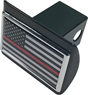 The Thin Red Line American Flag METAL Auto Emblem on Black METAL Hitch Cover - Support Firefighters and EMTs