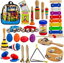 SMART WALLABY Toddler Musical Instruments Set | 26 pc + Bonus Puzzle Matching Game | Wooden Toys Educational Percussion Kit with Xylophone and Storage Backpack. Big Band