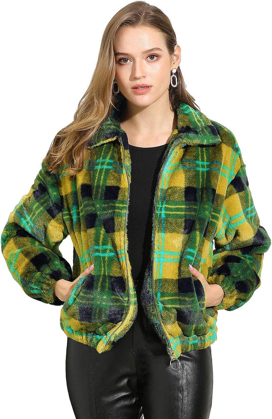 Allegra K Women's Winter Zip Pocket Plaid Teddy Jacket Oversize