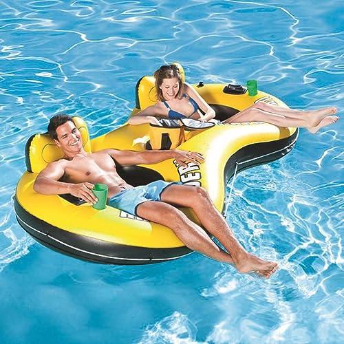 Double Chaise Longue Gonflable, lit Gonflable d'air de Natation de Chaise Longue Gonflable de Soleil d'été (251X132CM)