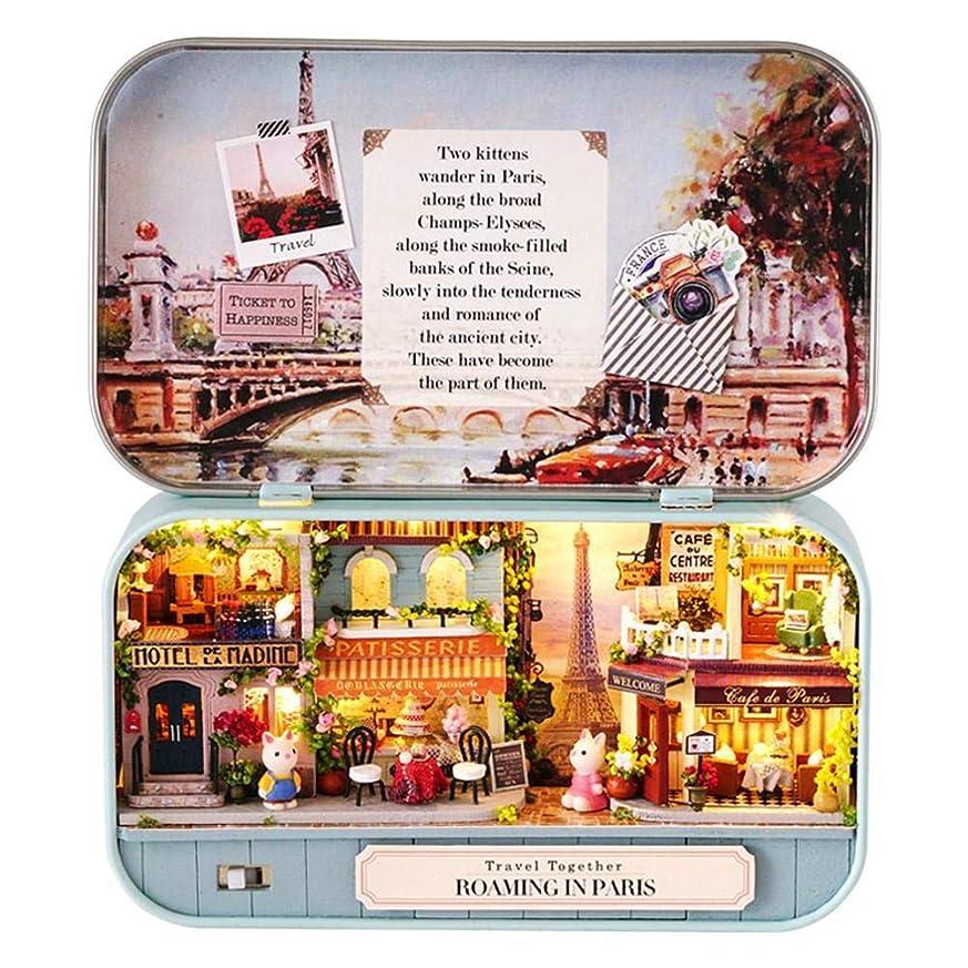 カーペット感嘆符雷雨shopparadise ドールハウス ミニチュアハウス キット ボックスシアター DIY LED照明付き 初心者向け 手作りキット ペンケース缶 誕生日 クリスマス 新年 ギフト