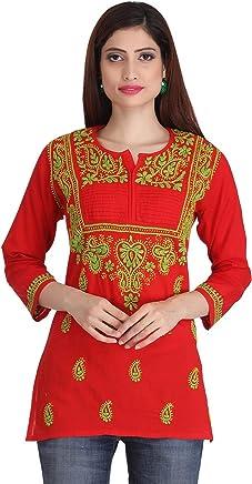 ADA Lucknow Chikan Handcrafted Regular Wear Womens Cotton Short Top Dress A226823