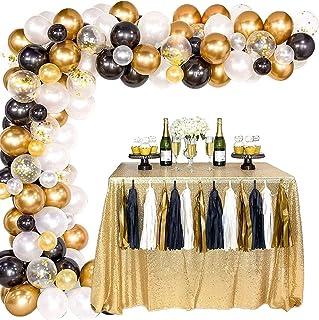 مجموعة بالونات جيرلاند، بالونات لديكورات الزفاف باللونين الذهبي الفاتح والاسود والذهبي، 100 قطعة جيرلاند من مجموعة ديكورات...