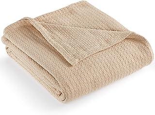 """RALPH LAUREN New Lauren Classic Cotton King Bed Blanket 108"""" x 90"""" 108"""" x 90"""" Beige 5942868"""