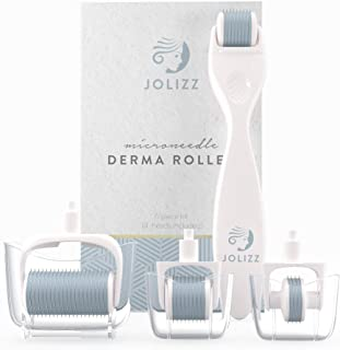 Jolizz Derma Roller Microdermabrasion Tool with FOUR Titanium Replaceable 0.25mm Microneedling Heads :1 Small 240 Needles, 2 Medium 600 Needles and 1 Large 1200 Needles – Women Face & Skin Care