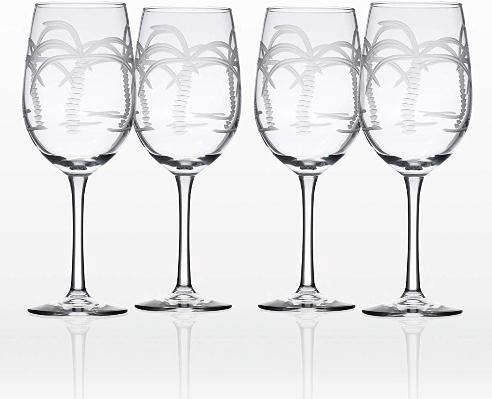 Rolf Glass Palm Tree White Wine Glass Set Of 4 12 Oz Clear