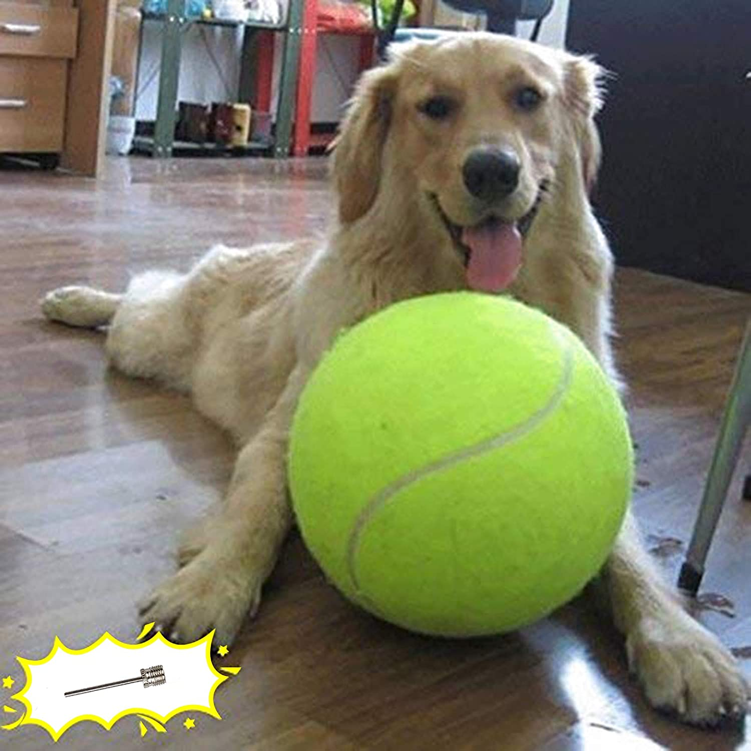 """Kitchen & Dining : Banfeng Giant 9.5"""" Dog Tennis Ball Large Pet Toys Funny Outdoor Sports Dog Ball Gift with Inflating Needles :"""