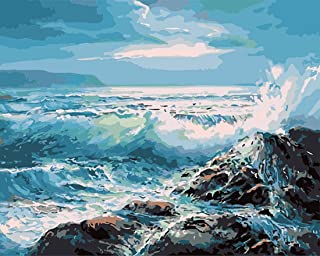 Wincy Shop DIY Painting Paint by Numbers Kit with Paints Brushes for Adults Beginners Sea Wave