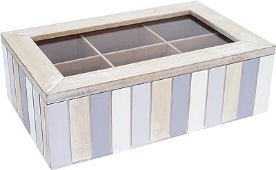 Générique 373 Boite à Compartiments Amovibles 24x15x7.5 cm, MDF, Bois, Bleu, Gris, Blanc, 24 x 15 x 7,5 cm