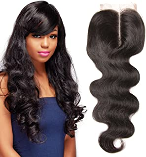 UNICE Hair Brazilian Body Wave Virgin Hair 4x4 Lace Closure Middle Part Natural Black (18inch)
