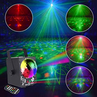 Shine Party Light Stage Laser Light Mini Flash Strobe Light RGB Color DJ Disco Lights Projector by Sound Activated Remote Control for Stage Lighting Birthday Parties (Disco Ball Version)