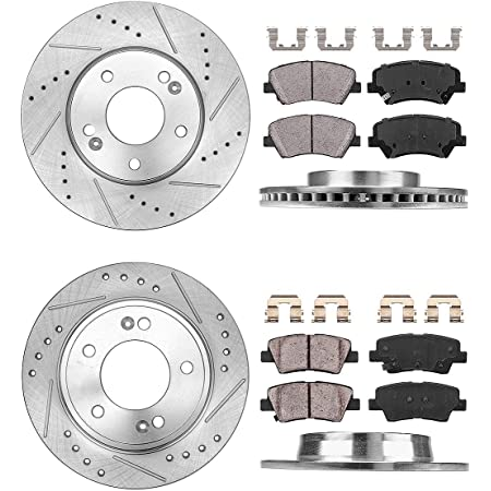 2010 For Hyundai Elantra Front Cross Drilled Slotted and Anti Rust Coated Disc Brake Rotors and Ceramic Brake Pads Stirling Note: Sedan