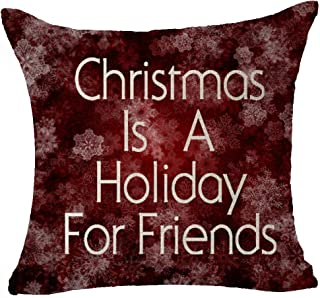Andreannie Winter Greetings Beautiful Snowflake Warm Sayings Christmas is A Holiday for Friends Merry Cotton Linen Throw P...