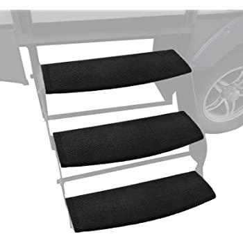 Kohree 22 Inch Wide RV Step Rug, Wraparound Radius Camper Stair Cover Trailer Step Carpet (Black 3 Pack)