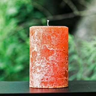 Rustic Textured Burnt Orange Unscented Pillar Candle - Choose Size - Handmade