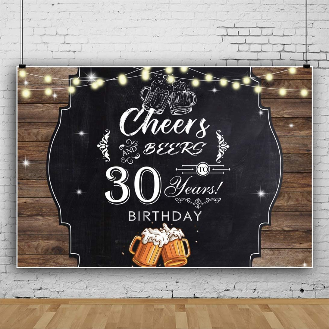 YongFoto 12x10ft Birthday Backdrop Cheers Beers 30 Years Birthday Wooden Board Lights Glitter Photography Background Party Theme Cake Table Banner Portrait Photo Studio Wall Vinyl Poster
