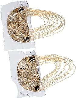 Jili Online 2 Pieces Vintage Tassel Beads Shoulder Board Mark Emblem Epaulette Brooch Badges Party Dress
