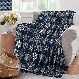 XavieraDoherty Wearable Blanket,Snowflake,Crochet Style White Motifs of Winter on Dark Background Traditional Designs,Navy Blue White,300GSM, Super Soft and Warm, Durable 50