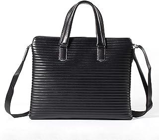 Crossbody Bag Men's Business Briefcase Leather Square Handbag Leather Shoulder Bag Laptop Messenger Bag 6L Black Work Bag