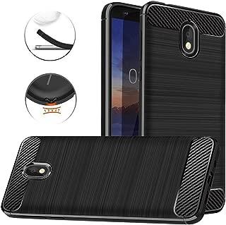 Dretal Nokia 3.1 Case, Carbon Fiber Shock Resistant Brushed Texture Soft TPU Phone case Anti-Fingerprint Flexible Full-Body Protective Cover for Nokia 3.1 (2018) (Black)