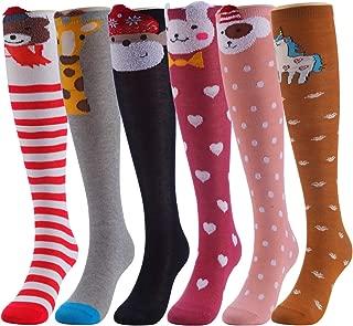 CISMARK Cartoon Animal Cat Bear Fox Cotton over Calf Knee High Socks, 6 Colors, One Size