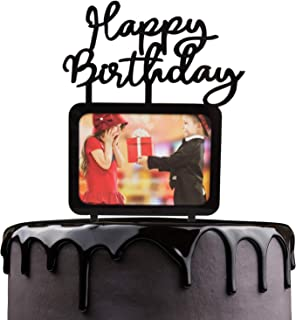 Happy Birthday Cake Topper - Black Acrylic With Photo Frame Cake Picks Décor - Baby Shower Wedding Anniversary Party Supplies - Chic Insert Cards Kids Pictures Monogram Lettles Decorations