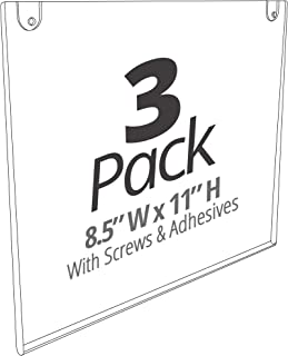 Mammoth Acrylic Wall Sign Holder 8.5 x 11 Inches, Thick & Durable Design, Stick On or Screw On, Screws and Double Sided Tape Inclusive (Landscape 3 Pack)