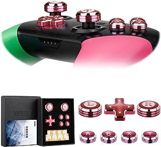 Switch Proコントローラ専用アシストキャップ アナログスティック with 十字キー、A/B/X/Yボタンカバー Epindon Cap-Con C2 メタル製 レッド 7個セット