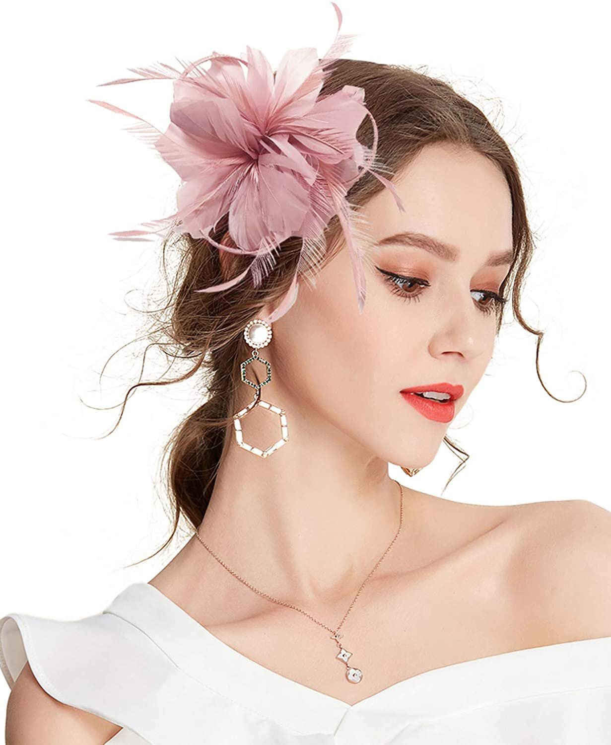 Z&X Women Feather Flower Fascinator Hat with Hair Clip Brooch for Cocktail Wedding