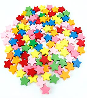 Hygloss Products Colorful Wooden Star Beads - 18mm Bright Colored Decorative Accessories for Art Projects, Beading, and Wood Crafts - 125 Pieces