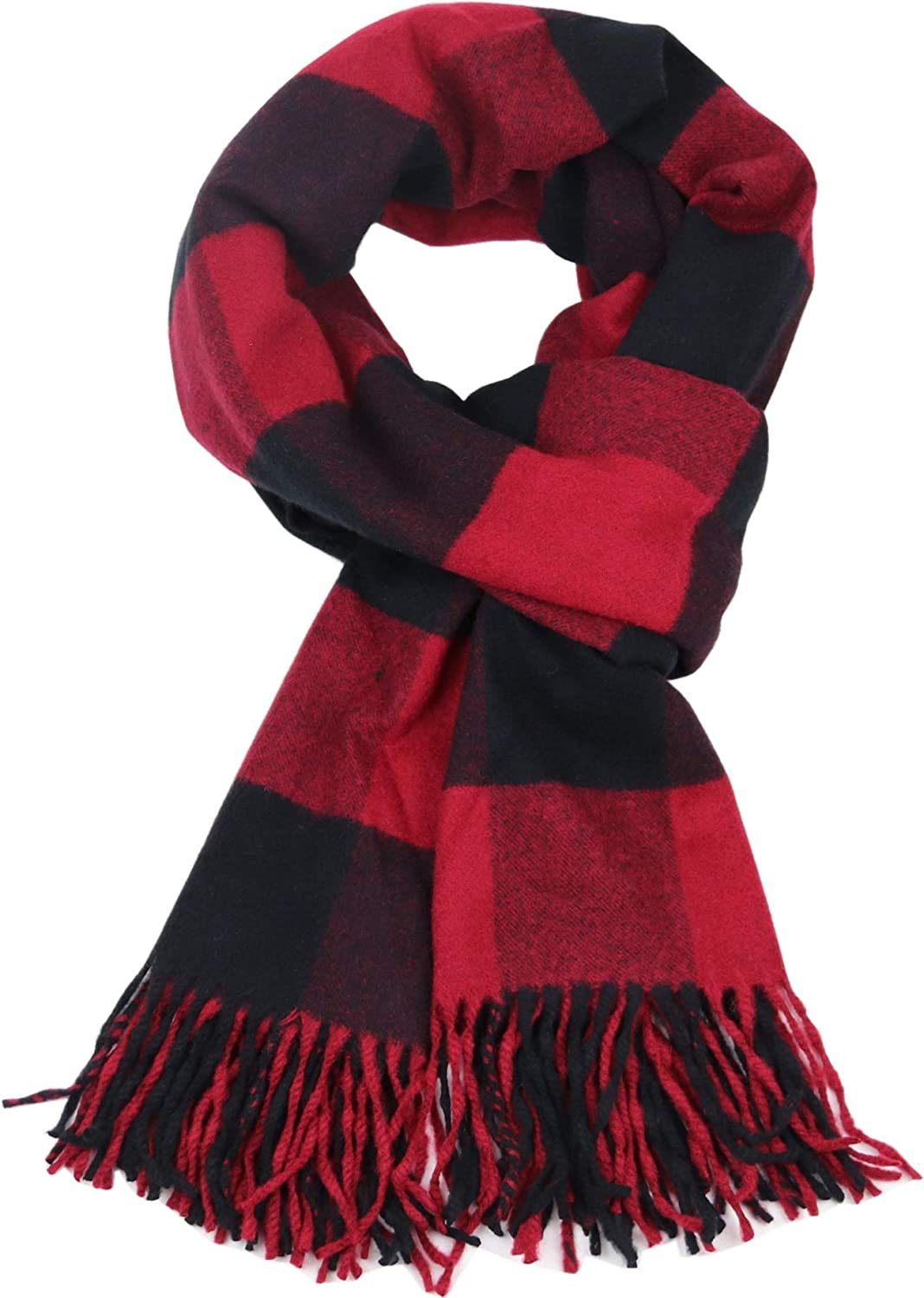 Cashmere Wrap Scarf Wool Blend Shawl Stole for Women and Men Winter Large Size Plaid Pattern