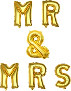 Anmas Home 16inch Gold Color MR&MRS Letter Foil Balloon Banner Set for Bachelorette Engagement Party Bridal Shower Decoration